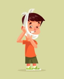 Cartoon of sad boy with a sore tooth and a ice pack wrapped around his face