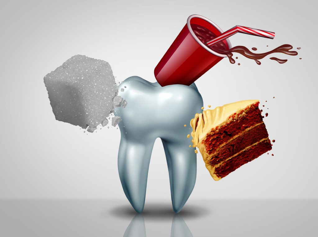 Sugar, soda, and a slice of cake attacking a giant model tooth