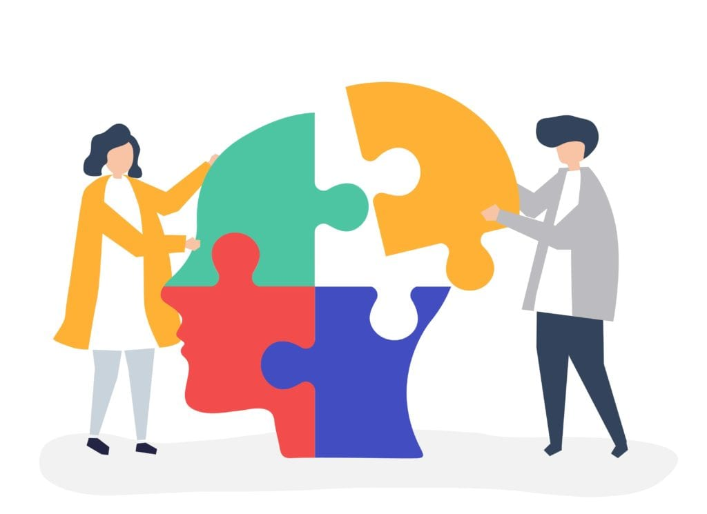 Cartoon of two people putting together a head puzzle