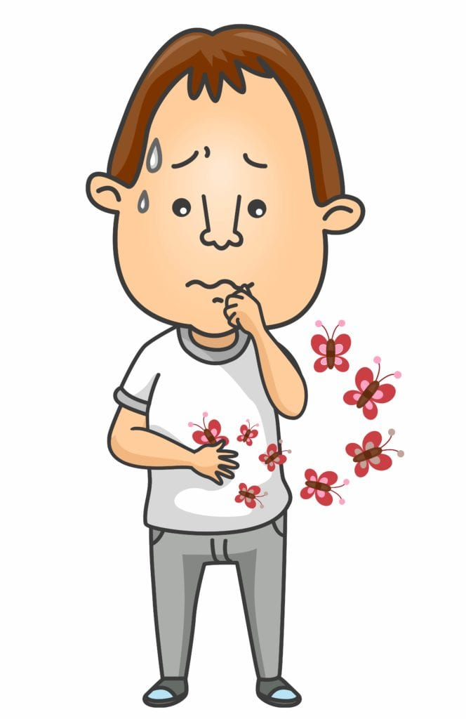Cartoon man looking nervous with butterflies in his stomach