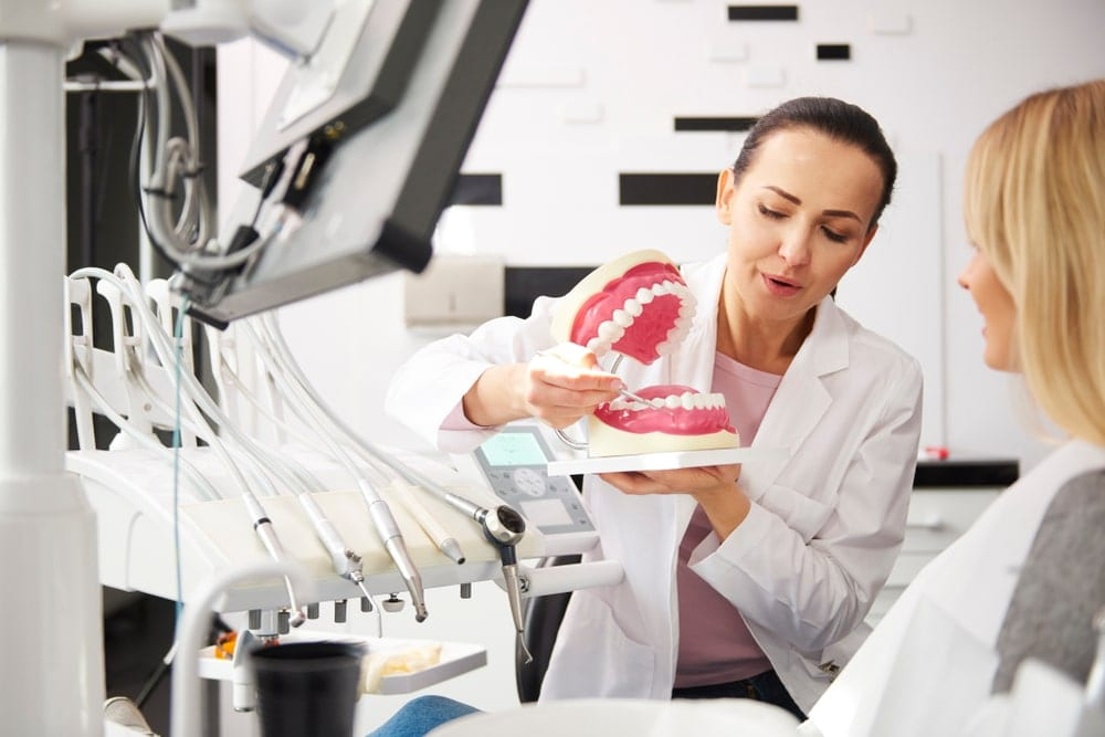 Dentist explaining tooth model to patient