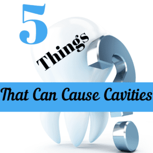 "Title banner with tooth and title ""5 things that can cause cavities"""