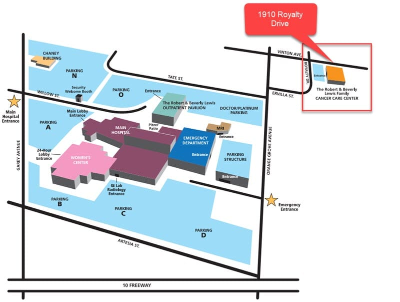 Map of the Robert and Beverly Lewis Family Cancer Care Center